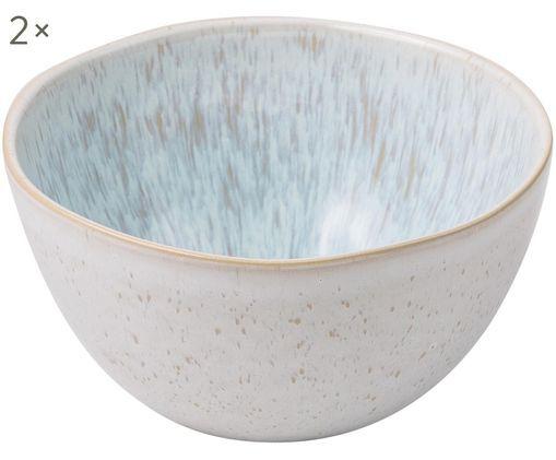 Handbemalte Schälchen Areia, 2 Stück, Hellblau, Gebrochenes Weiß, Hellbeige