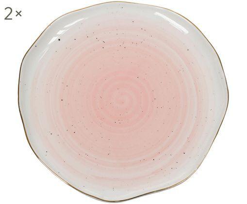 Handgefertigte Speiseteller Bol mit Goldrand, 2 Stück, Rosa