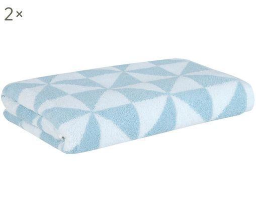 Asciugamani reversibili Tilla, 2 pezzi, Azzurro, bianco