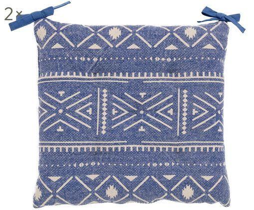 Zitkussens Agadir, 2 stuks, Blauw, wit
