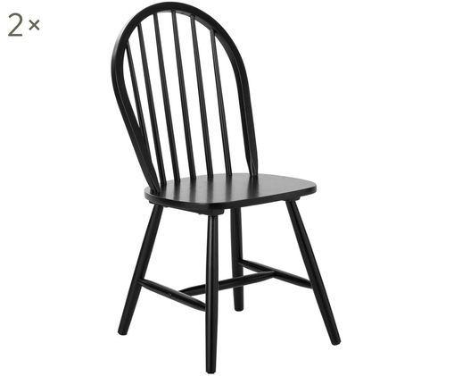 Krzesło z drewna w stylu windsor Jonas, 2 szt., Czarny