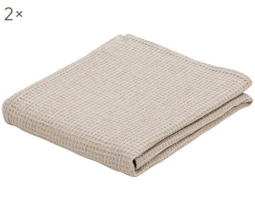 Asciugamano per ospiti in lino Lauja, 2 pz., Beige