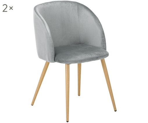 Fluweel gestoffeerde stoel Yoki, 2 stuks, Bekleding: lichtgrijs. Poten: metaal in eikenhoutlook
