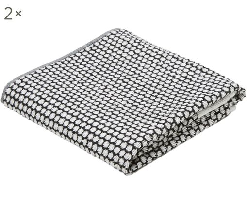 Asciugamani Grid, 2 pz., Nero, bianco latteo