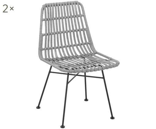Polyrattan-Stühle Tulum, 2 Stück, Sitzfläche: Grau, gefleckt Gestell: Schwarz, matt