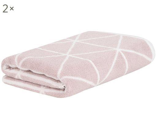 Asciugamano reversibile Elina, 2 pz., Rosa, bianco crema