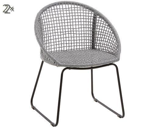 Krzesło ogrodowe  z podłokietnikami Sania, 2 szt., Jasny szary