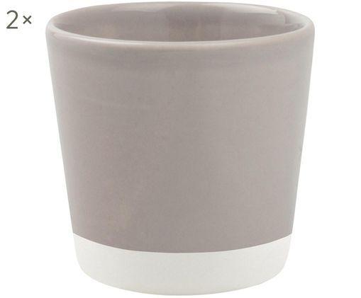 Handgefertigte Espressobecher Bisque, 2 Stück, Grau, Weiß