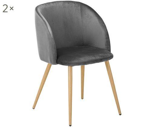 Krzesło tapicerowane z aksamitu Yoki, 2 szt., Tapicerka: ciemny szary Nogi: metal, imitacja drewna dębowego