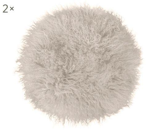 Cojines de asiento de piel de cordero Pamina, 2uds., Parte delantera: gris pardo Reverso: gris