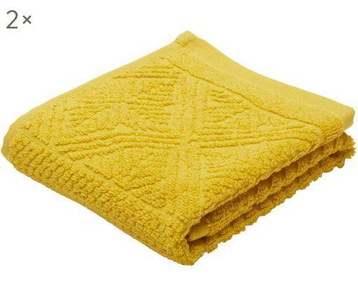 Asciugamano per ospiti Retro, 2 pz., Giallo senape