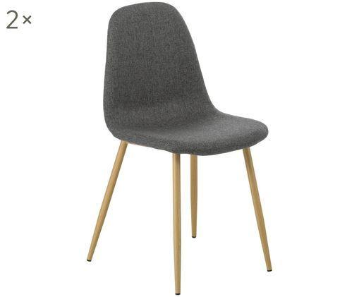 Krzesło tapicerowane Karla, 2 szt., Szary