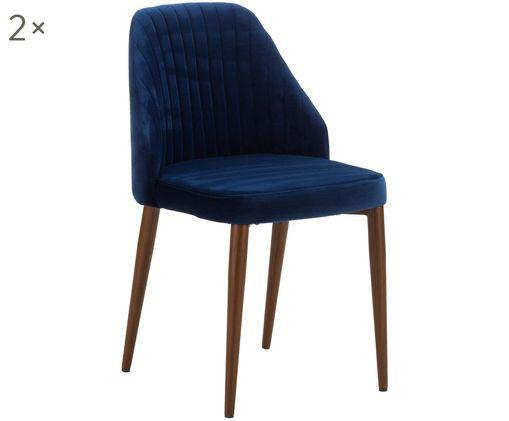 Fluweel gestoffeerde stoelen Lucie, 2 stuks, Marineblauw