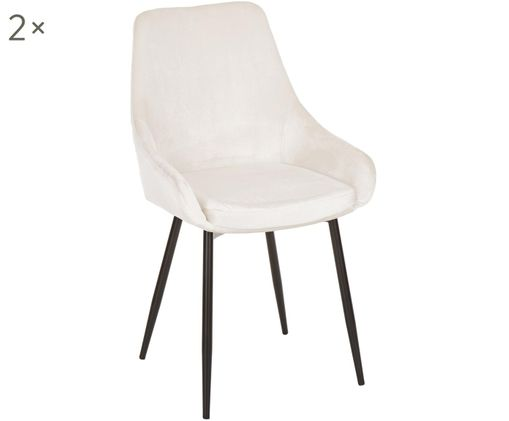 Sedia in velluto East Side, 2 pz., Rivestimento: beige chiaro Gambe: nero opaco