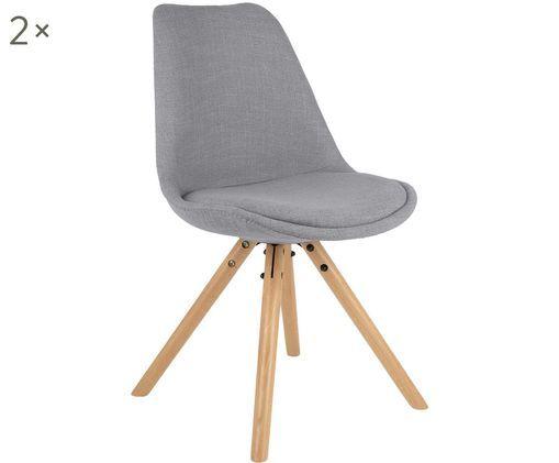 Gestoffeerde stoelen Maxi, 2 stuks, Bekleding: grijs. Poten: beukenhoutkleurig
