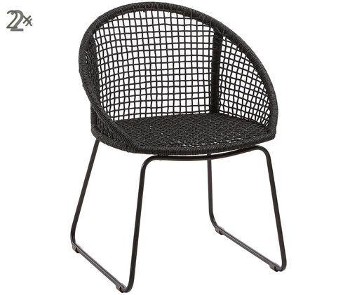 Krzesło ogrodowe  z podłokietnikami Sania, 2 szt., Ciemny szary