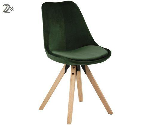 Krzesło tapicerowane z aksamitu Dima, 2 szt., Zielony leśny