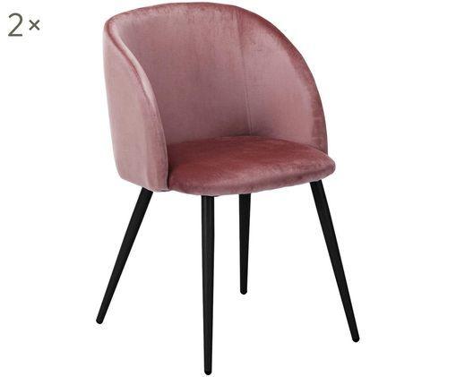 Chaises en velours rembourrées Yoki, 2pièces, Revêtement: rose-orange Pieds: noir, mat