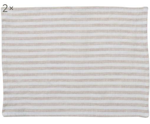 Sets de table pur lin Solami, 2 pièces, Beige, blanc