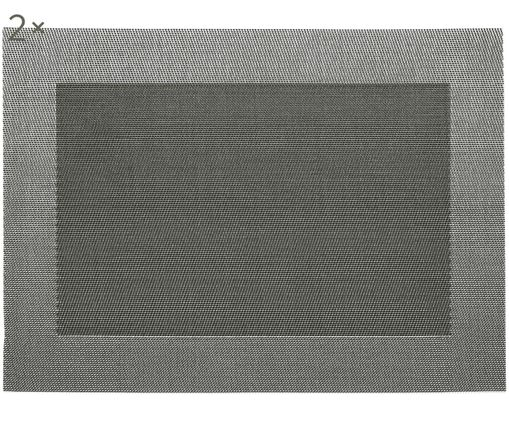 Placemats in materiale sintetico Modern, 2 pz., Argento, nero