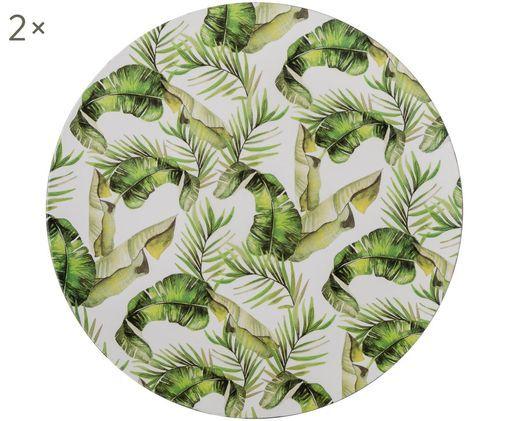 Podstawka pod talerz Tropical, 2 szt., Odcienie zielonego, biały