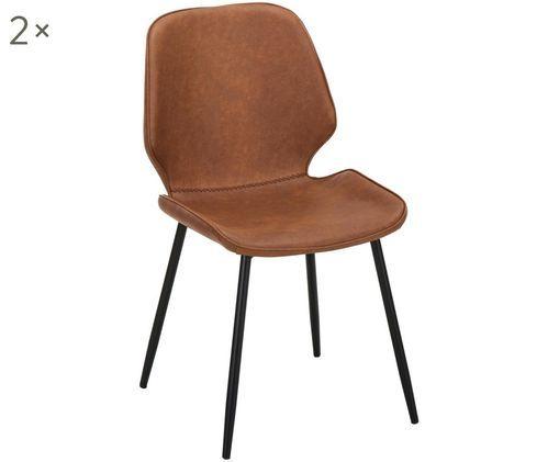 Krzesło tapicerowane ze sztucznej skóry  Louis, 2 szt., Tapicerka: koniakowy Nogi: czarny, matowy