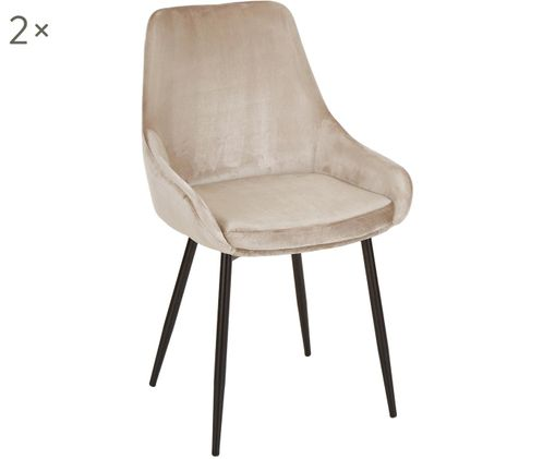 Sedia in velluto East Side, 2 pz., Rivestimento: champagne Gambe: nero opaco