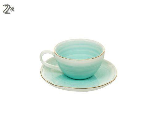 Handgefertigtes Espressotassen-Set Bol mit Goldrand, 4-tlg., Türkisblau