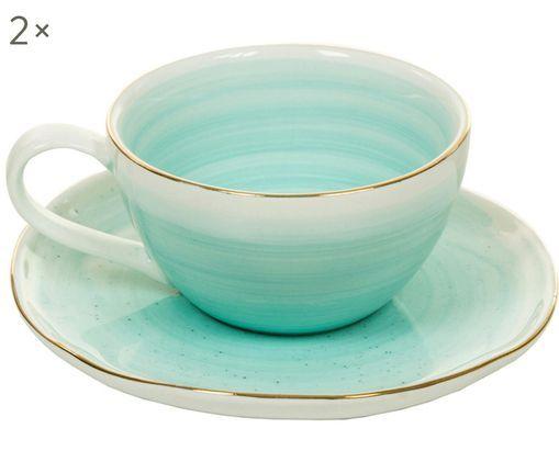 Set tazzine da caffè fatte a mano Bol, 4 pz., Blu turchese