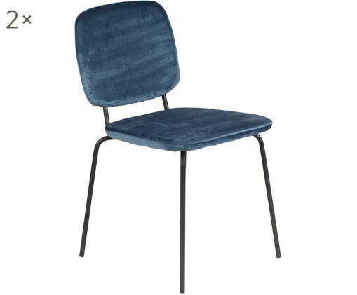 Fluwelen stoelen Clyde, 2 stuks, Blauw, zwart