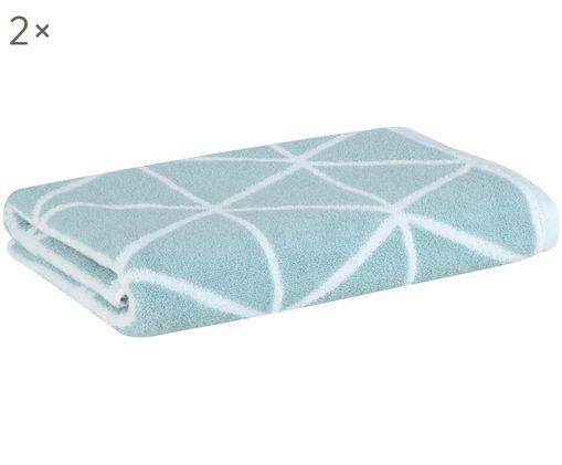 Asciugamani reversibili Elina, 2 pz., Verde menta, bianco