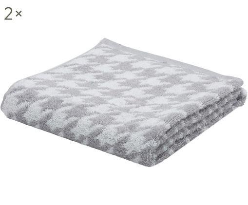 Asciugamano Shapes, 2 pz., Grigio argento, bianco