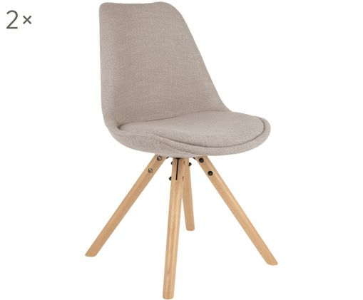 Gestoffeerde stoelen Maxi, 2 stuks, Bekleding: beigegrijs. Poten: beukenhoutkleurig