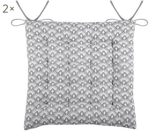 Wendesitzkissen Palma, 2 Stück, Grau, Weiß