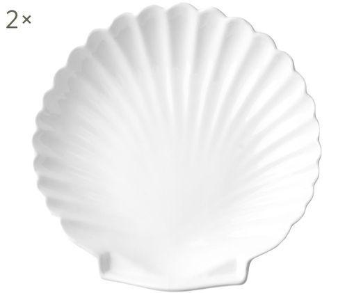 Speiseteller Shell, 2 Stück, Weiß