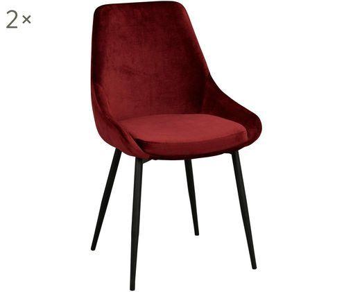 Sedia imbottita in velluto Sierra, 2 pz., Rosso, nero