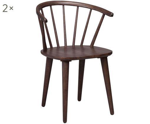Krzesło z podłokietnikami z drewna naturalnego Windsor Carmen, 2 szt., Ciemnybrązowy z widoczną strukturą drewna