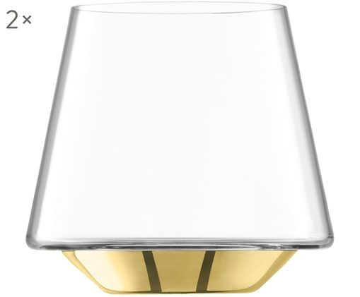 Verres à eau soufflés bouche Space, 2pièces, Transparent, couleur dorée