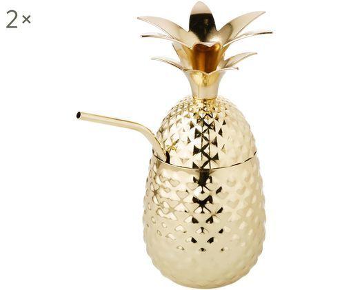 Goldfarbener Becher Franni im Ananas Design, mit Strohhalm, Messingfarben