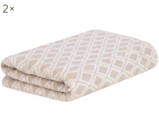 Asciugamano reversibile Ava, 2 pz., Sabbia, bianco crema