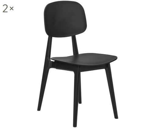Kunststoff-Stühle Smilla, 2 Stück, Schwarz, matt