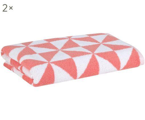 Asciugamani reversibili Tilla, 2 pezzi, Corallo, bianco