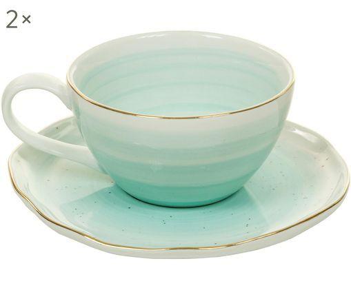 Set tazze fatto a mano Bol, 4 pz., Blu turchese