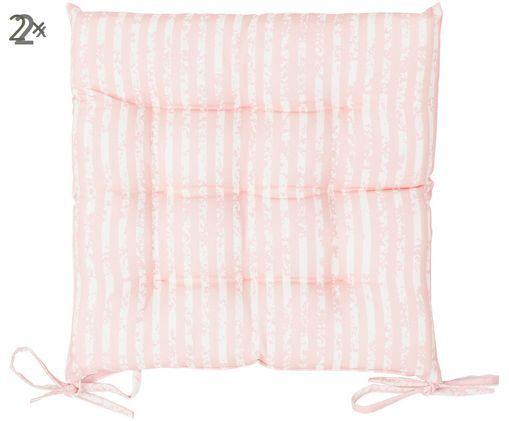 Zewnętrzna poduszka na krzesło Little Stripes, 2 szt., Blady różowy, biały