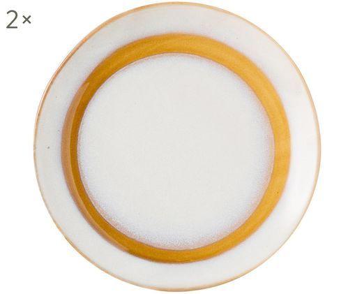 Fatto a mano piatti da dessert 70's, 2 pz., Bianco, arancio