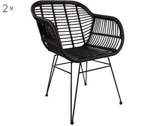 Polyrattan-Armlehnstühle Costa, 2 Stück, Sitzschale: Schwarz, Gestell: Schwarz