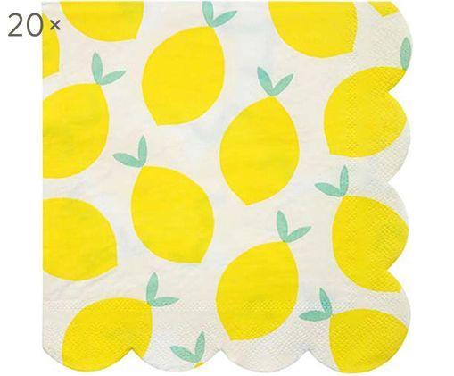 Tovaglioli di carta Lemon, 20 pz., Bianco, giallo, verde