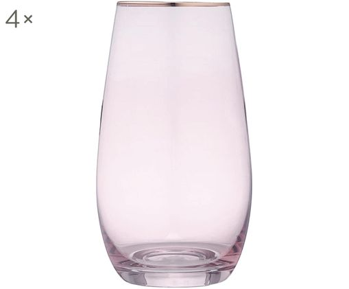 Bicchieri per l'acqua Chloe, 4 pz., Pesca