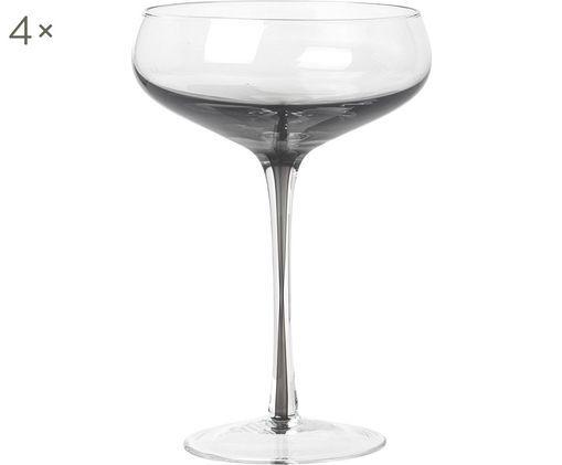 Mundgeblasene Champagnerschalen Smoke mit grauem Farbverlauf, 4er-Set, Transparent, Rauchgrau