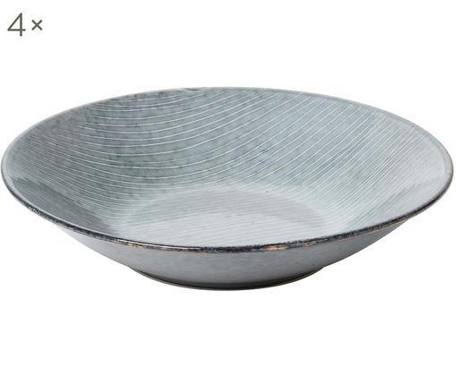 Handgefertigte Suppenteller Nordic Sea, 4 Stück, Grau- und Blautöne